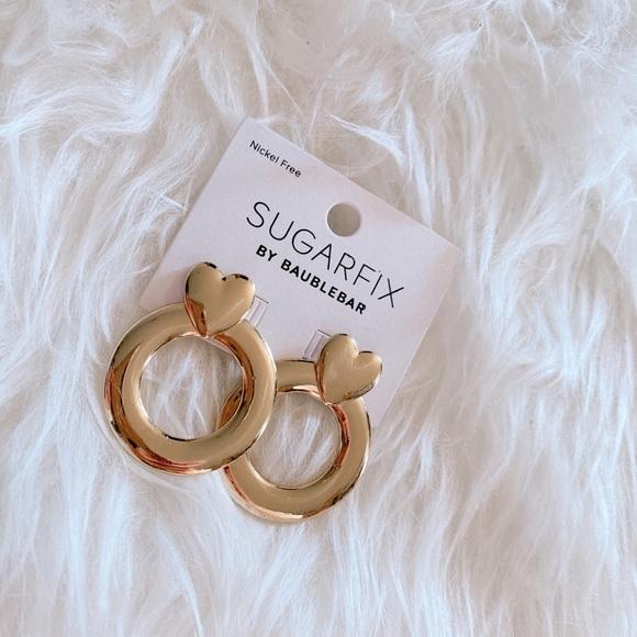 BaubleBar Jewelry - NWT Baublebar Sugarfix Gold Heart Hoop Earrings